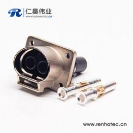 金属带屏蔽2芯35A高压互锁连接器插座