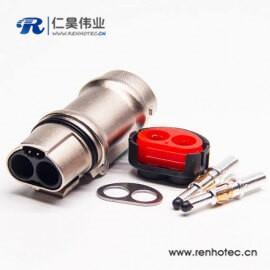 插头金属带屏蔽2芯35A高压互锁连接器