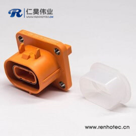 电动汽车塑料插座2芯高压连接器直式电流150A高压互锁