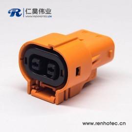 新能源汽车150A直式互锁高压连接器插头2芯塑料电流