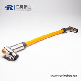 高压插头90°带屏蔽直式单芯金属互锁转接线25CM