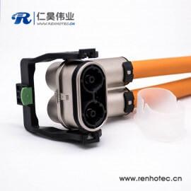 高压互锁金属外壳插头125A弯式2芯接线15CM连接线