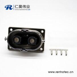 高压互锁连接器法兰125A金属外壳2芯直式插座面板安装4孔