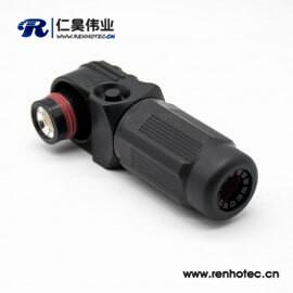 新能源黑色350A塑料IP67高压防水大电流连接器公插头直角单芯12mm