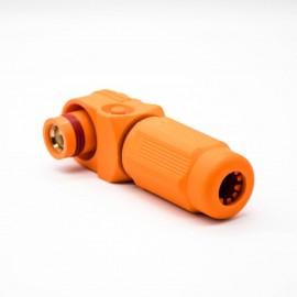 新能源橙色IP67电源储能连接器14mm单芯塑料400A接线弯式插头