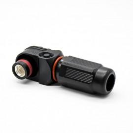储能连接器防水黑色插头母头单芯8mm直角200A塑料IP67高压