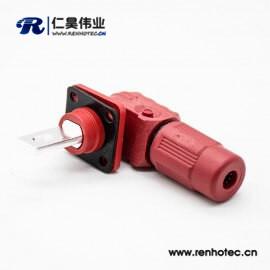 大电流防水公母直弯对接连接器IP67红色插头插座200A单芯12mm塑料铜牌连接