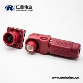 新能源电源红色塑料防水IP67储能连接器单芯14mm公母插座插头直弯对接400A铜牌连接