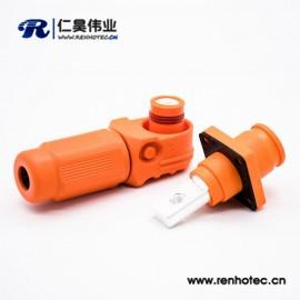 储能200A橙色塑料电池连接器公母防水弯式插头对接直插座单芯8mm铜牌连接
