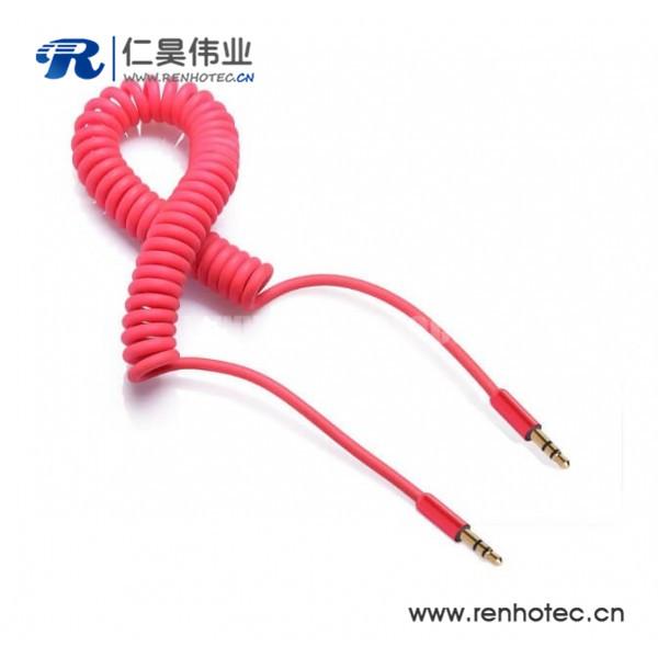 彩色弹簧音频线3.5公对公车载aux音频线20cm