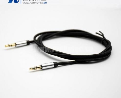 耳机插头3.5mm3极公对公直式音频线黑色0.5米-3米