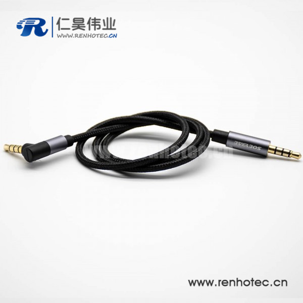 镀金耳机插头4极公转公直对弯黑色音频线0.5米-3米