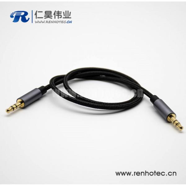 3极耳机插头直径3.5mm公转公直式3极黑色音频线0.5米-3米