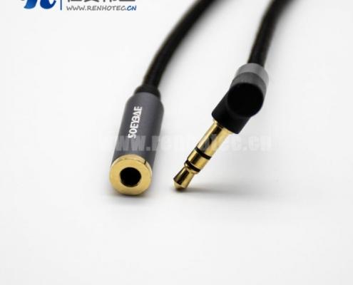 3极3.5MM弯公对直母黑色音频线长度0.5m-3米