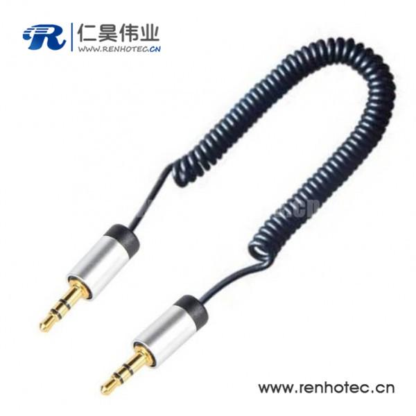 3.5MM伸缩音频线 车用AUX可伸缩弹簧式MP3音频线30CM