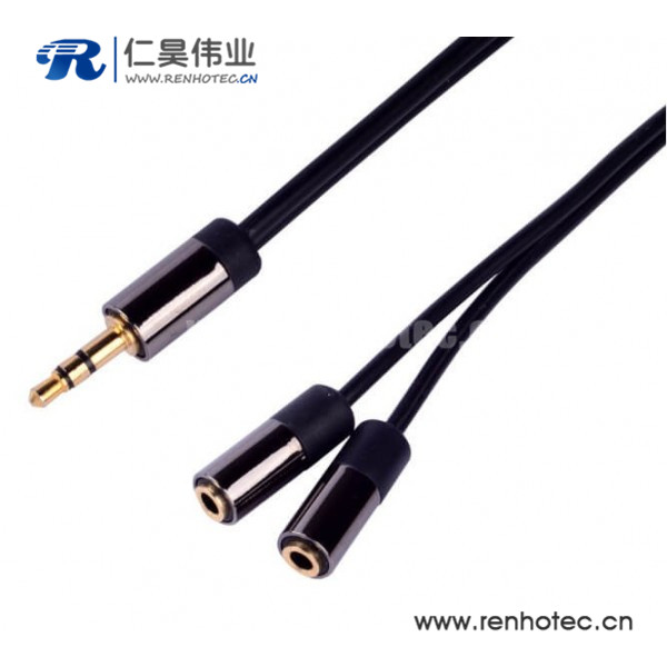 3.5mm一分二转接线一公转2母耳机延长线30cm