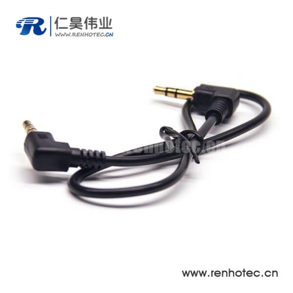 3.5mm公对公3极插头弯对弯音频线黑色长度30CM