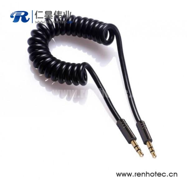 3.5mm弹簧线公对公aux车载音频线30CM