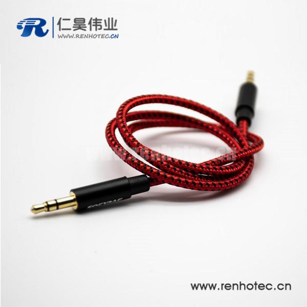 3.5mm插头公对公3极镀金耳机插头手机电脑音箱音频延长线中国红直式0.5米-3米