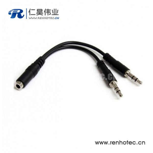 3.5mm母对公线材Y型耳机延长线30CM