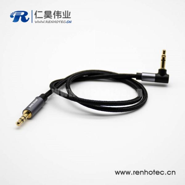 3.5mm耳机插头镀金3极公对公直对弯带黑色音频线0.5米-3米