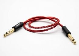 6.5mm音频插头镀金公转公插头直式音频线红色1米-5米