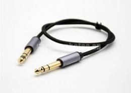 6.5mm音频线镀金公头转公头直式黑色音频线1米-5米