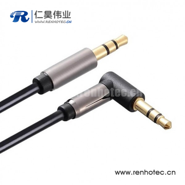 90度3.5mm线材车载AUX音频线 3.5mm弯头音频线