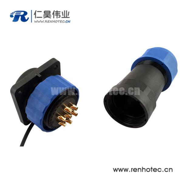 IP68防水航空插头插座 SP29 4孔法兰插座直插头 10芯