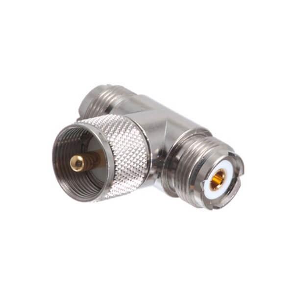 UHF 连接器适配器 T 型公到双母