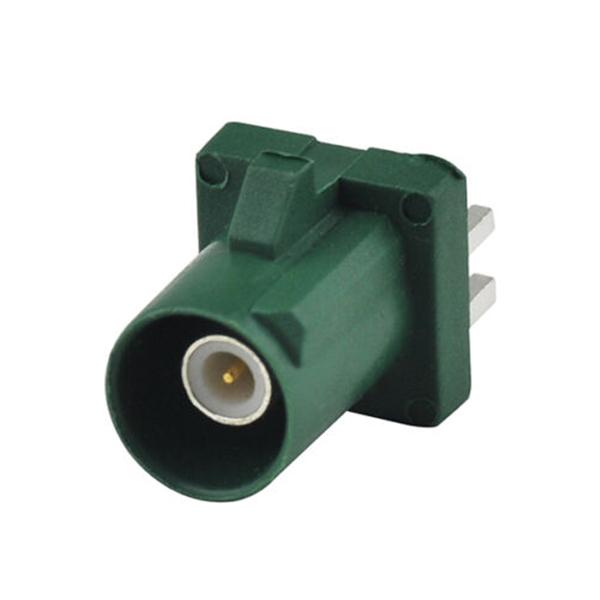 车载射频连接器Fakra公头PCB板安装卡板式直式绿色GPS和电视用连接器