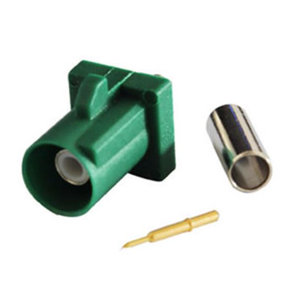 专业Fakra汽车连接器E型公头绿色压接焊接接线RG316 RG174汽车TV天线用连接器
