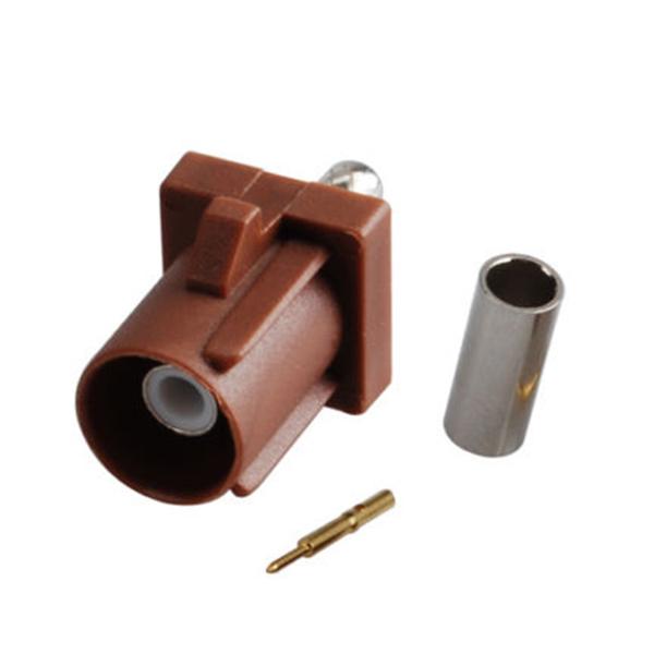 Fakra Fakra 压接公头棕色焊接连接器用于RG316 RG174