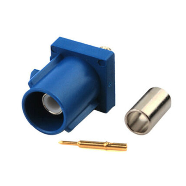 Fakra C公头蓝色压接焊接连接器用于车载GPS天线RG174 RG316