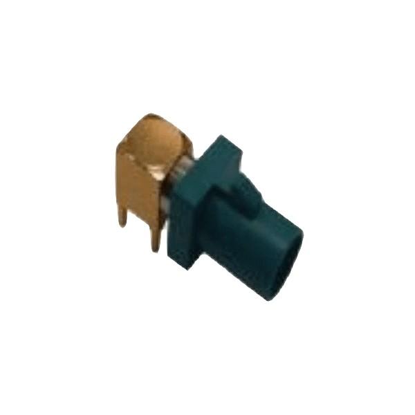 Fakra接口SMB短公头镀金弯式PCB板安装RF系列水蓝色用连接器