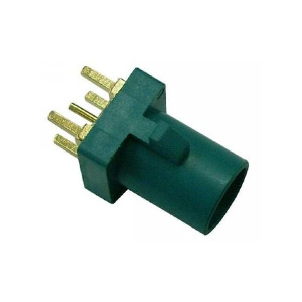 Fakra接口SMB短公头直式PCB板安装RF系列水蓝色用连接器