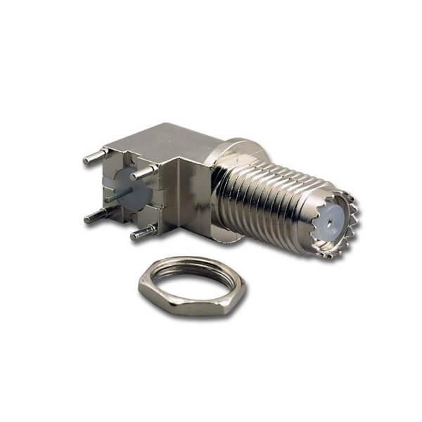 用于面板安装的迷你 UHF舱盖连接器角度插孔