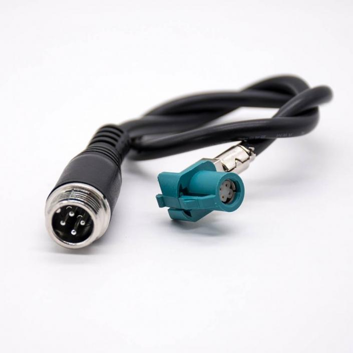 连接器Fakra弯式HSD Z型母头转GX12直式4芯公头组装线材
