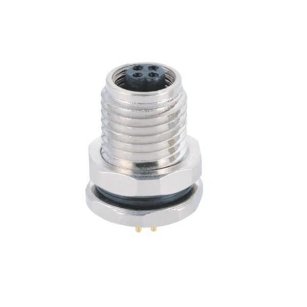 M5插座PCB插板式防水前锁4芯螺纹款母插座传感器