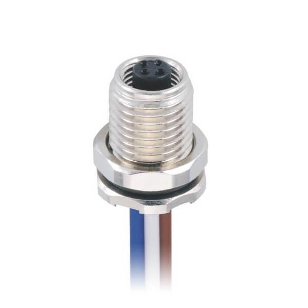 M5航空传感器防水圆形连接器M5 4芯前锁公插座焊线式接25CM 26AWG线