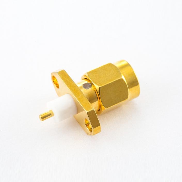 面板安装SMA公头连接器直式PCB安装焊板2孔法兰
