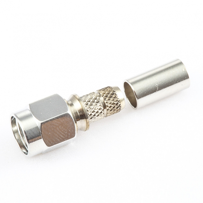RG58 / RG142 / SYV50-3RF SMA公头直式连接器压接