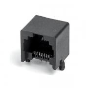 插件网络接口RJ45PCB-8P8C无边90度黑色通信接插件国标耐高温网络接口母座X2