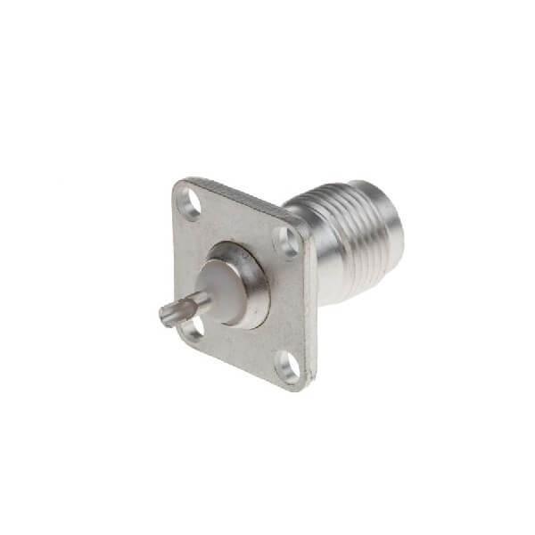 TNC连接器焊接法兰直母50Ω隔板端子用于面板安装
