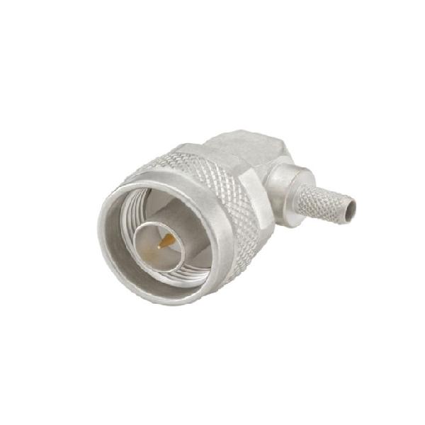 N型连接器插头50Ω直角电缆安装压接焊接端子11GHz接线柔性线