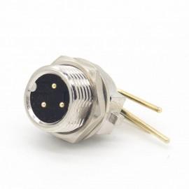 gx12 航空插座3芯航空连接器90度弯针前锁板连接器