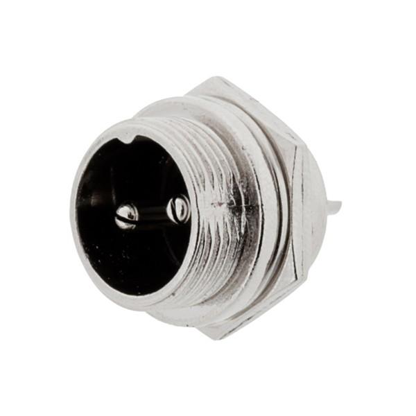 GX16两芯航空插头公座直式金属防水连接器