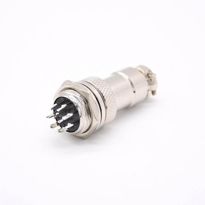 航空插头插座GX16 9芯公母直式焊线金属外壳防水连接器