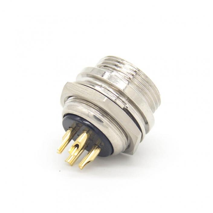 4芯GX16直式反装母插头后锁穿墙焊线式航空连接器
