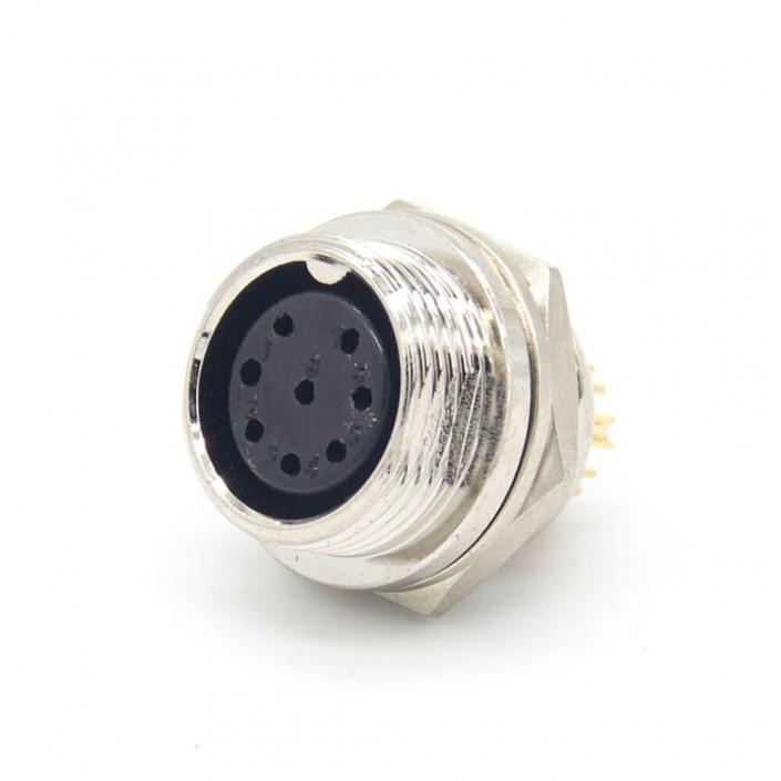 GX16 8芯直式反装母插座后锁穿墙焊线式航空连接器